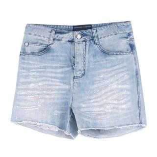 Ermanno Scervino Sequin Embellished Denim Shorts
