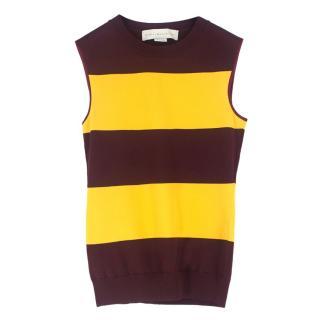 Stella McCartney Burgundy and Yellow Striped Tank Top