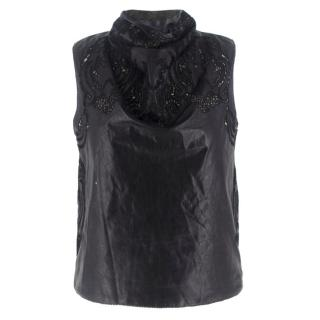 Ermanno Scervino Black Leather and Lace High Neck Top