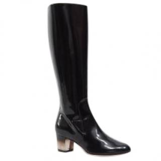 Salvatore Ferragamo Celina perspex-heel black leather boots