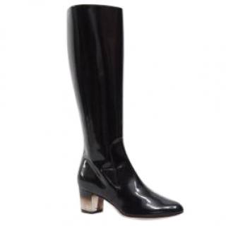 Salvatore Ferragamo Celina perspex-heel black leather boots