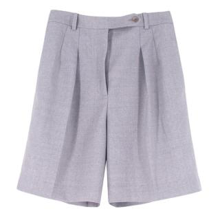 Ermanno Scervino Grey Wool Pleated-Leg Tailored Shorts