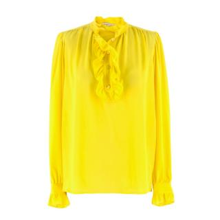 Stella McCartney Yellow Silk Crepe de Chine Ruffled Blouse
