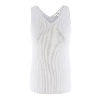 Christian Dior Pale-Blue Ribbed Cashmere-blend Tank Top