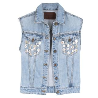 Rockins Sleeveless Button Embellished Light Blue Denim Jacket