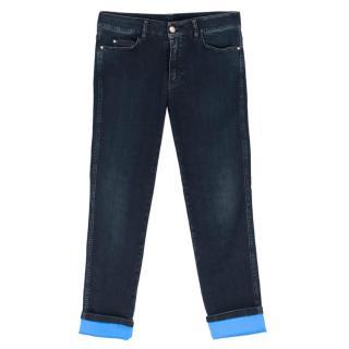 Ermanno Scervino Dark Wash Turn-Up Boyfriend Jeans