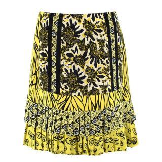Etro Silk Floral Pleated Hem Skirt