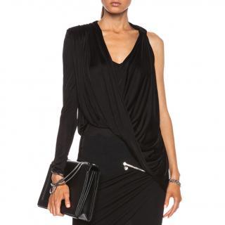 Versace Asymmetric Black Draped Top
