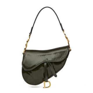 Christian Dior Olive-Green Patent Leather Mini Saddle Bag