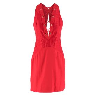 Roberto Cavalli Red Lace-Up Mini Dress