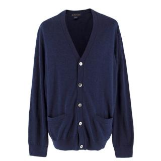 Brooks Brothers Navy Oversized Cotton Cardigan