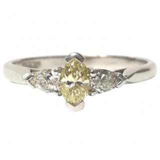 P&BH Yellow & White Diamond Three-Stone Ring