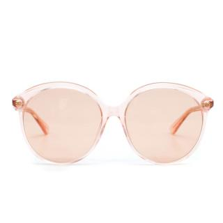 e193f30305db Gucci Oversized Round-Frame Peach Acetate Sunglasses