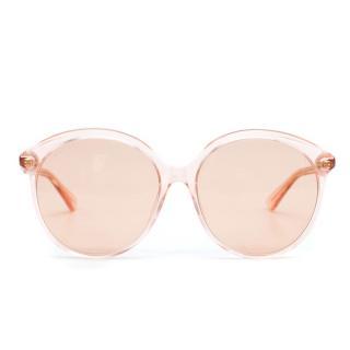 5f26d66f4306 Gucci Oversized Round-Frame Peach Acetate Sunglasses
