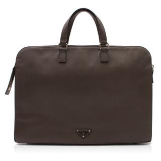 Prada Grey Leather Briefcase