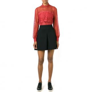 Temperley Red Lace-Panel Top