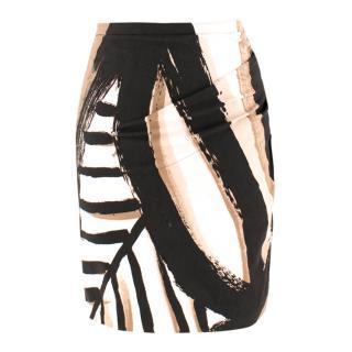 Donna Karan Side-Gathered Abstract-Print Mini Skirt