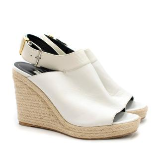 Balenciaga Slingback Leather Wedge Sandals