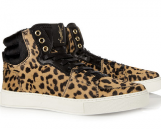Yves Saint Laurent Malibu leopard-print calf-hair sneakers
