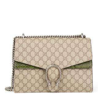 GG Medium Dionysus Supreme Coated Canvas & Green Python Leather