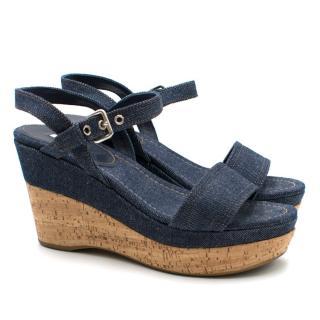 Miu Miu Denim Wedge Sandals