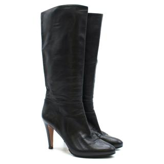 Prada Black Leather Mid-Calf Heeled Boots