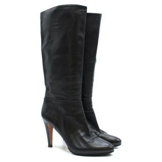Prada Black Leather Mid-Calf Heeled Boots
