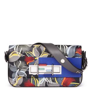Fendi 3 Baguette Grey & Blue Orchard-Print Leather Bag