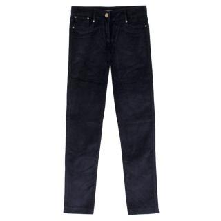 Alexander McQueen Navy Velvet Slim-Leg Trousers