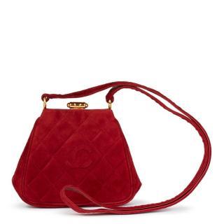Chanel Red Quilted Velvet Timeless Frame Bag