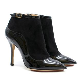 Charlotte Olympia Patent Leather & Suede Point-Toe Heeled Ankle Boots
