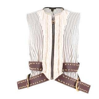 Louis Vuitton Belted White Striped Top