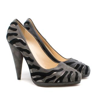 Prada Suede Zebra Print Applique Pumps