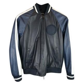 Emporio Armani Patch-Detail Leather Bomber Jacket