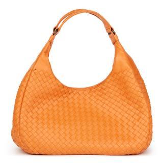 Bottega Veneta Orange Intrecciato Leather Medium Campana Bag