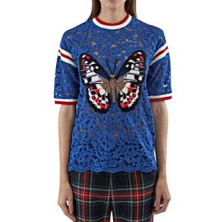 Gucci Blue Lace Butterfly Top