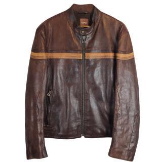 Boss Hugo Boss Cafe Racer Leather Biker Jacket
