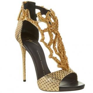 Giuseppe Zanotti coral-effect gold sandals