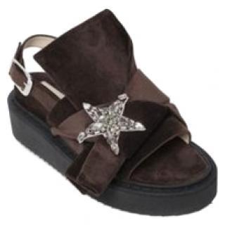 No.21 crystal-star bow slingback flat sandals