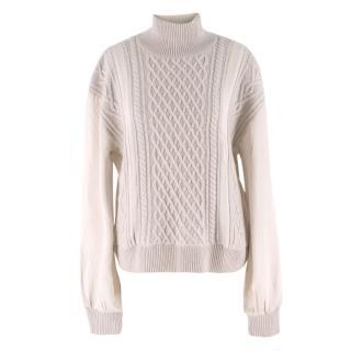 TSE Cashmere Cable-Knit & Habotai-Panel Sweater