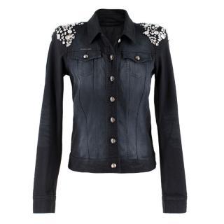 Philipp Plein Crystal-Embellished Black Denim Jacket