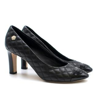 Chanel Black Quilted-Leather Pumps