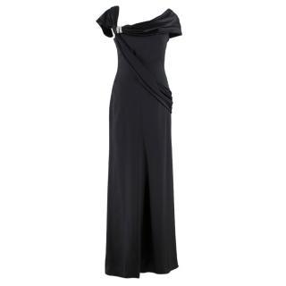 Valentino Embellished Asymmetric-Neckline Black Silk-Gown