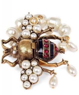 Gucci Crystal and Glass Pearl Bee Bracelet