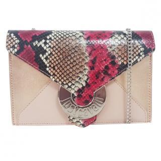 Just Cavalli Snakeskin Print Chain Shoulder Bag
