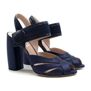 Miu Miu Navy Satin Peep-Toe Sandals