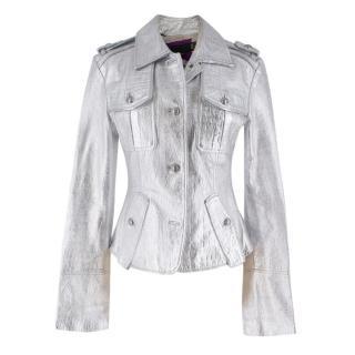 Just Cavalli Metallic Silver Croc Embossed Leather Jacket
