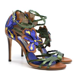 Jimmy Choo Brown & Metallic Leather Floral Applique Strappy Sandals