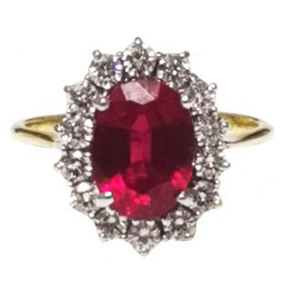 Bespoke Rubilite & Diamond Cluster Ring 18ct Gold