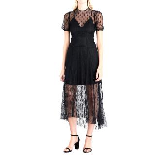 Maje Ramsey Embroidered Lace Black Dress
